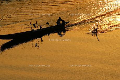 長良川、漁の舟、夕日に輝くの素材 [FYI00330456]