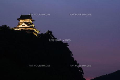 犬山城、ライトアップの夕暮れの素材 [FYI00331341]