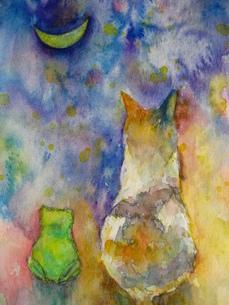 ネコとカエルのお月見の素材 [FYI00333657]