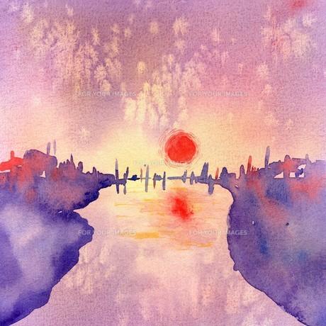 太陽と空と川の素材 [FYI00333699]