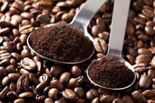 コーヒー豆と計量スプーンの写真素材 [FYI00334268]