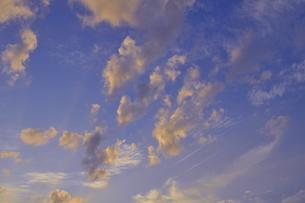 夕焼けの空・飛行機雲 1の写真素材 [FYI00335587]
