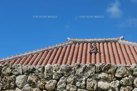 赤瓦の屋根とシーサーの写真素材 [FYI00335940]