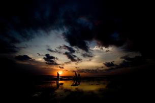 夕日と家族の写真素材 [FYI00336429]