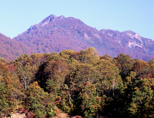 紅葉の雨飾山の写真素材 [FYI00337940]