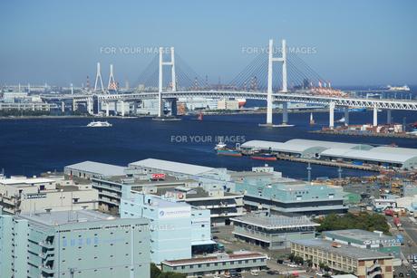 横浜港山下埠頭と横浜ベイブリッジの素材 [FYI00338454]