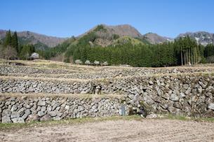 福島の棚田の石垣の写真素材 [FYI00338575]