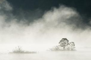 朝もやの秋元湖の写真素材 [FYI00338700]