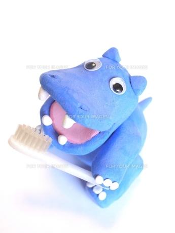 歯磨きするカバさんの写真素材 [FYI00361361]