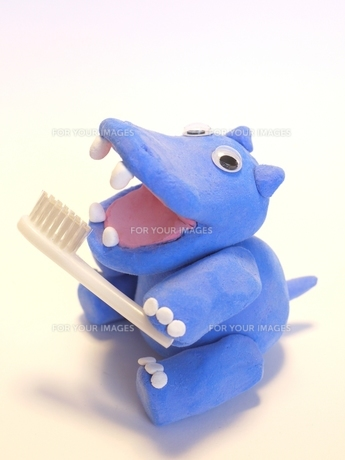 歯磨きするカバさんの写真素材 [FYI00361363]
