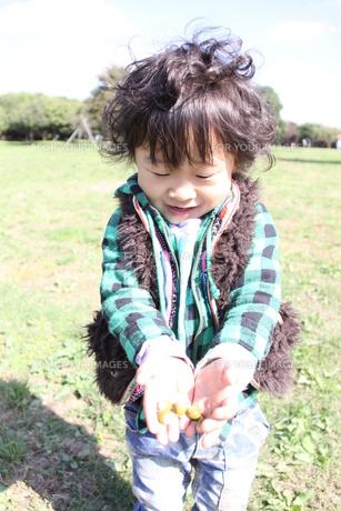 木の実を持つ笑顔の男の子の素材 [FYI00362095]