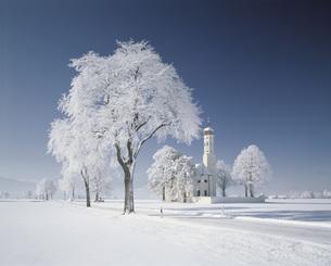 霧氷のザンクトコルマン教会の写真素材 [FYI00364578]