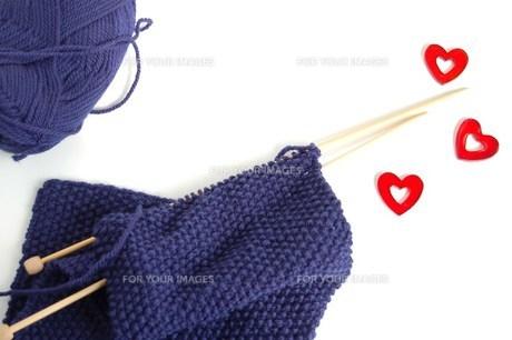 編み物とハートの写真素材 [FYI00377326]