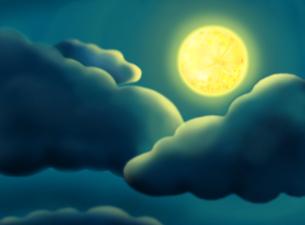 雲と月の素材 [FYI00377355]