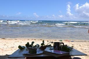 浜でカフェ読書の写真素材 [FYI00377669]
