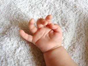開きかけた赤ちゃんの手(生後1か月)の写真素材 [FYI00378580]