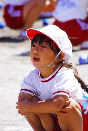 運動会で応援する女の子の写真素材 [FYI00378683]