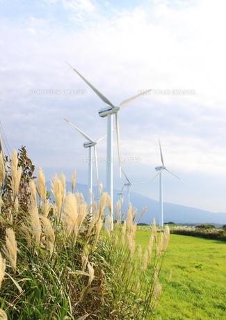 風車の見える風景の写真素材 [FYI00378750]