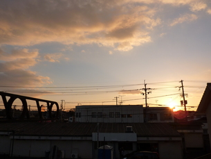 ベランダからの夕空の写真素材 [FYI00378805]