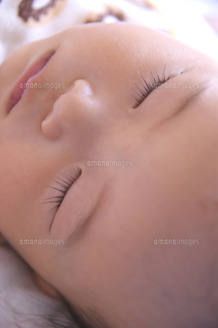 かわいい赤ちゃんの寝顔の写真素材 [FYI00378951]