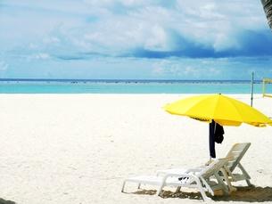 砂浜と黄色いパラソルの写真素材 [FYI00378966]