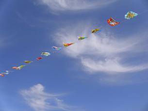 運動会の旗と秋空の写真素材 [FYI00379070]