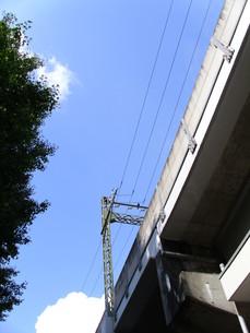 青空と鉄道高架の写真素材 [FYI00379085]