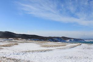 北海道 網走市 能取岬 雪景色 オホーツク海の素材 [FYI00379372]