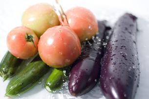 複数の野菜と水流の写真素材 [FYI00381539]