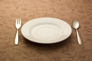スプーンとフォークとお皿 の写真素材 [FYI00381633]