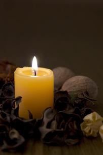 ?燭と木の実の写真素材 [FYI00381900]