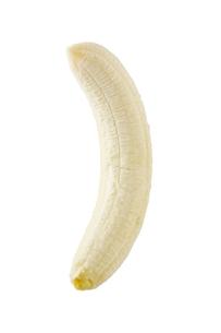 白背景に皮を剥いたバナナのアップの写真素材 [FYI00381984]