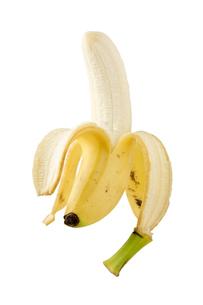 白背景に皮を剥いたバナナのアップの写真素材 [FYI00382000]