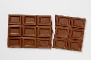 白背景に割れた板チョコレートのアップの写真素材 [FYI00382011]