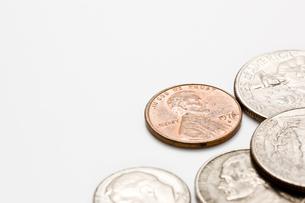複数の硬貨のアップの写真素材 [FYI00382054]