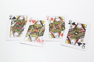 4枚のクイーンのカードの写真素材 [FYI00382171]