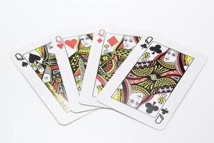 4枚のクイーンのカードの写真素材 [FYI00382175]