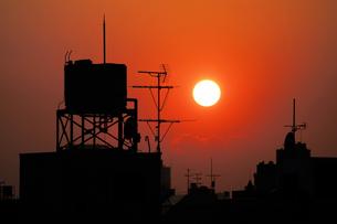 都会に落ちる夕日の素材 [FYI00382313]