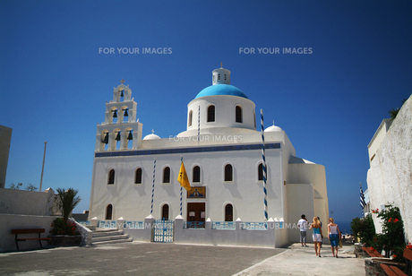 サントリーニ島の教会の素材 [FYI00382349]