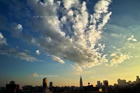 壮大な雲の下の新宿の素材 [FYI00382383]