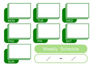 週間予定表(緑)の写真素材 [FYI00382540]