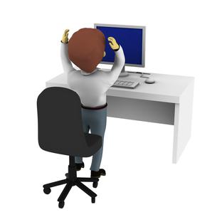 パソコンの前で頭を抱える男性の写真素材 [FYI00383371]