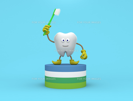 歯のキャラクターの写真素材 [FYI00383385]