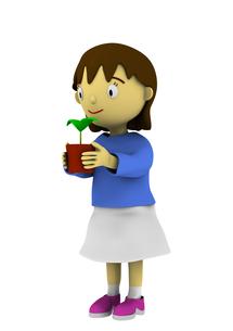 植木鉢を持つ女の子の写真素材 [FYI00383394]
