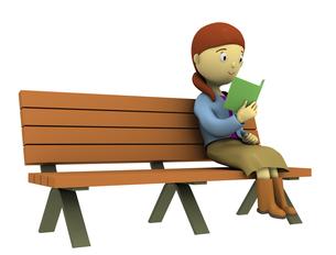 ベンチで読書をする女性の写真素材 [FYI00383419]