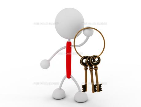 鍵の束を持つの写真素材 [FYI00383529]