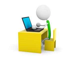 ノートパソコンを使うの写真素材 [FYI00383591]