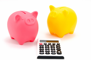 電卓と豚の貯金箱(ピンクとイエロー)の素材 [FYI00386327]