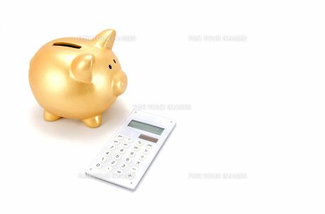 金色の豚の箱と電卓の素材 [FYI00386430]