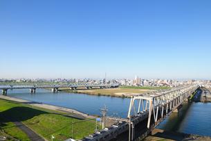 江戸川と「鉄橋の写真素材 [FYI00389667]
